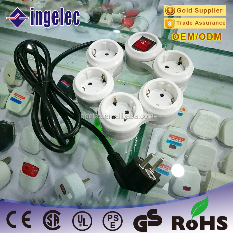 2 PIN EU plug bending 3m cord wire pivoting power strip, 360 degree Flexible 4 way 5 outlet power strip / Power Bar with 2 USB