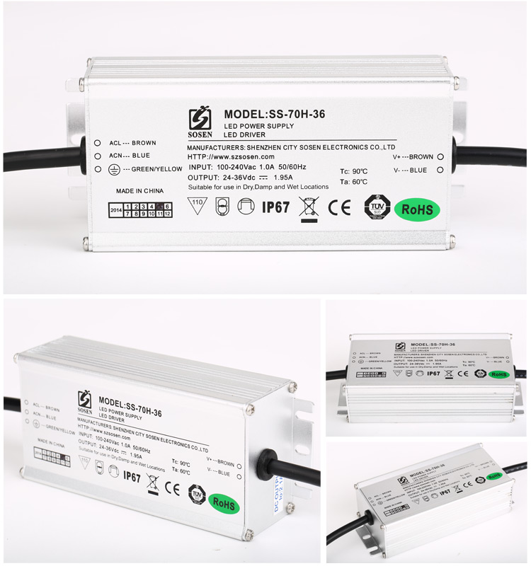 high PFC 70W SOSEN dimmable waterproof led driver 5 Years Warranty