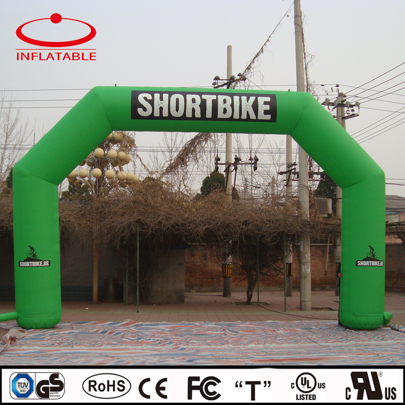 advertising inflatable logo printed green bike race arch