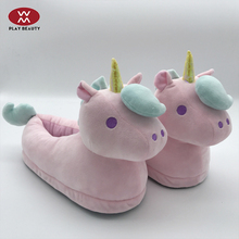 Custom Made Manufacturers Bangs Unicorn Plush Bear Slippers Wholesale For Adults