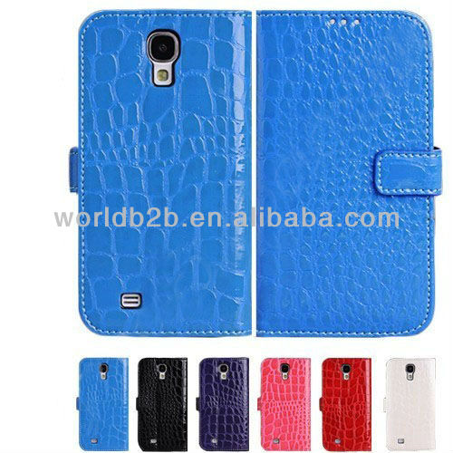 Nice Crocodile Skin Leather Flip Cover Case for Samsung Galaxy S4 Mini i9190,with Card Slots & Stand design