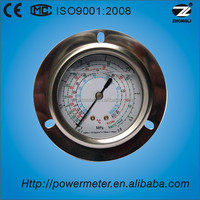 Axial mounting freon refrigeration pressure gauge with front flange CE