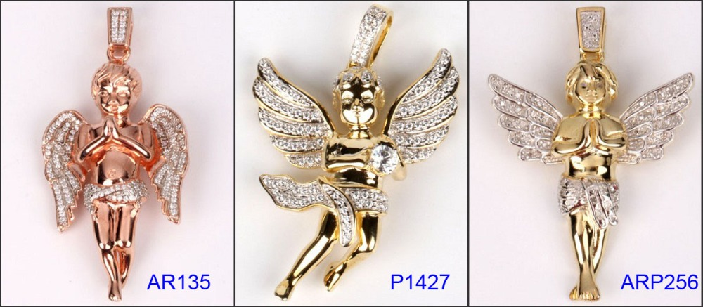 Hot sales hip hop 925 sterling silver angel chain pendant necklace jewellery