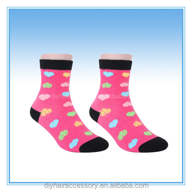Baby Girls Ankle Socks Heart Pattern Warm In Tube Socks
