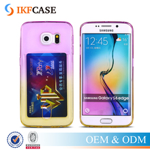 Gradient Colorful Crystal Transparent Clear Silicon TPU Card Holder Phone Case for Samsung Galaxy S6 S6 Edge