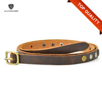 16mm Brown Skinny Fashion Women Top Grain Leather Belt with Rivets