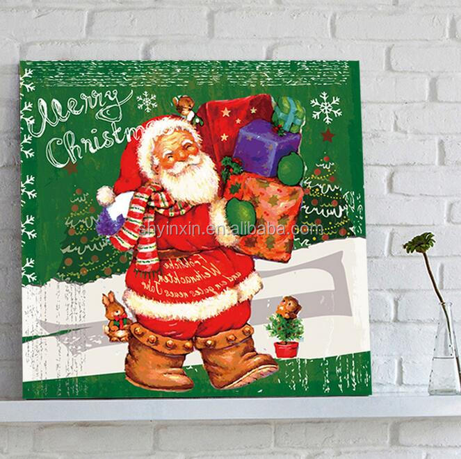 Handmade Modern Santa Claus Canvas Wall Art, Father Christmas Figure Oil Painting For Christmas