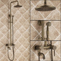 Vintage style Antique Brass Finish Inspired Tub shower set for faucet with Shower Head + Hand Shower