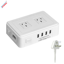 Australian 3 pin plug socket usb travel power strip with 2 outlets 4 usb ports