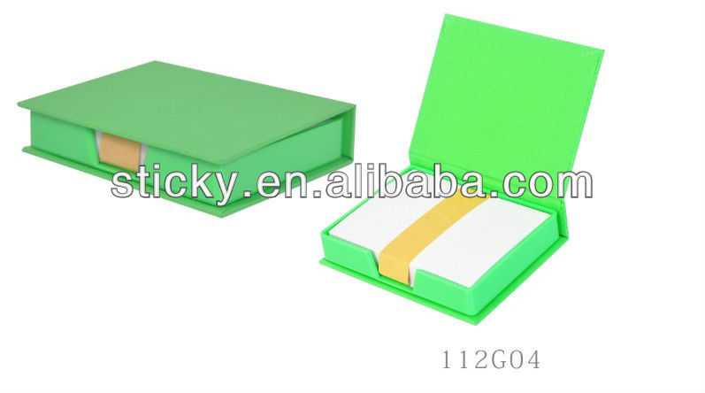 color paper memo pad with plastic holder