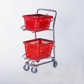 2018 newly grocery double basket shopping Cart for stores