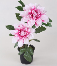 Artificial pink silk dahlia plant in plastic pot
