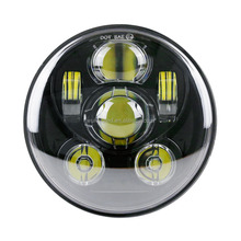 "WUKMA 5-3/4"" 5.75"" Round Led Projection Daymaker Headlight for Harley Davidson Motorcycle 9 pcs Bulb"
