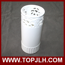 White ceramic flower vase with sublimation printing