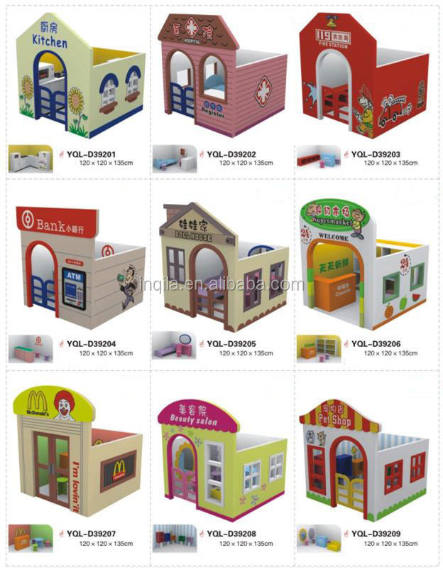 Small children wooden playhouse kids play toys
