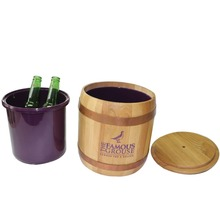 custome barrel wood ice bucket with inner plastic box for bar store