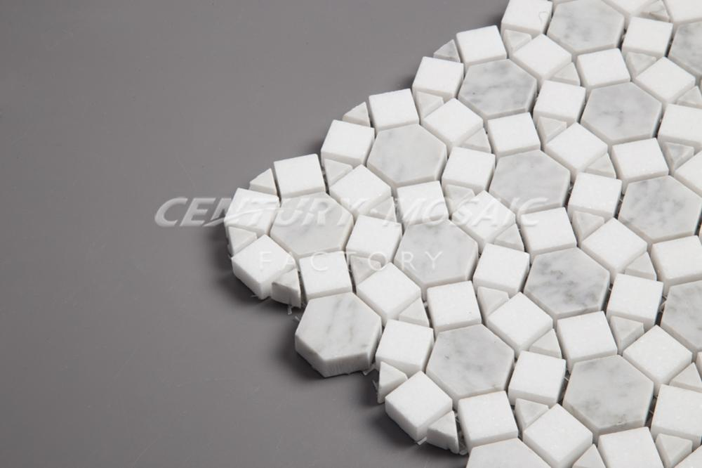 Hot Sell Polished Carrara And White Thassos Sunflower Mosaic Tile
