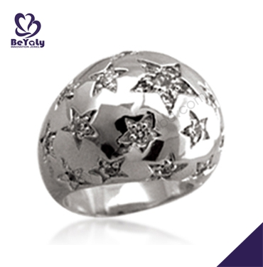 Exquisite carved star night scene titanium silver 316l stainless steel rings