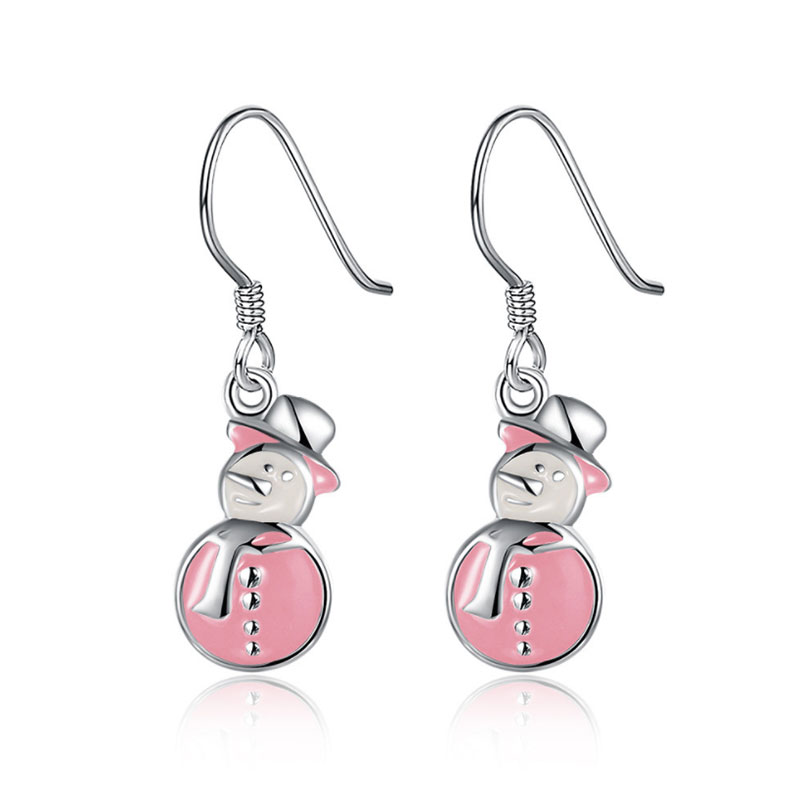 Europe and the United States New selling Christmas Snowman Silver Earrings