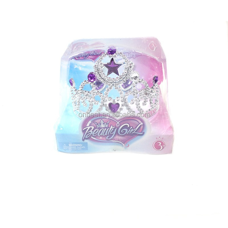 2017 Brand wholesale baby crown kids gift set silver hair accessories plastic princess tiaras crowns