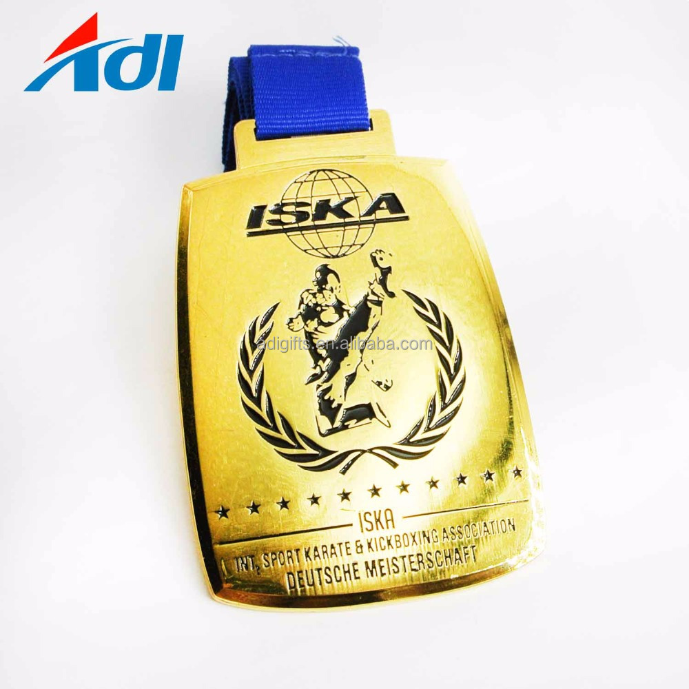 Hot sale custom zinc alloy gold plated karate heavy metal medals