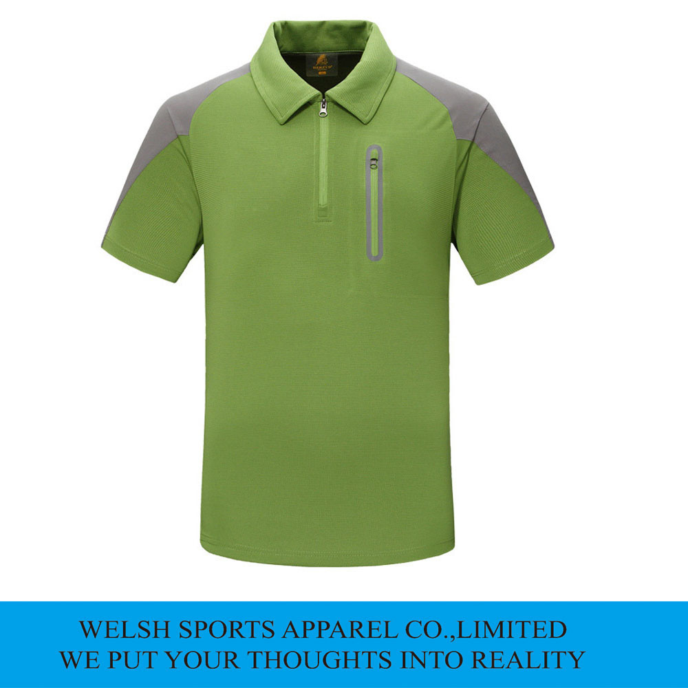 Mens custom dry fit green color zipper front polo shirts for Custom dry fit shirts
