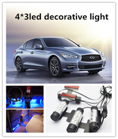 12V 4*3 led car interior atmosphere LED light, Blue Decorative Light