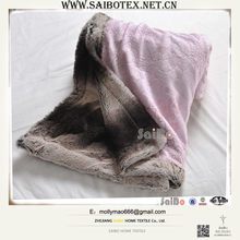 pink color faux fur softextile plush blanket