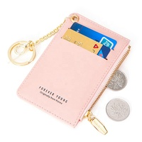 Brand Card Holder Bag Small Card Wallets Women Soft Leather Key Chain