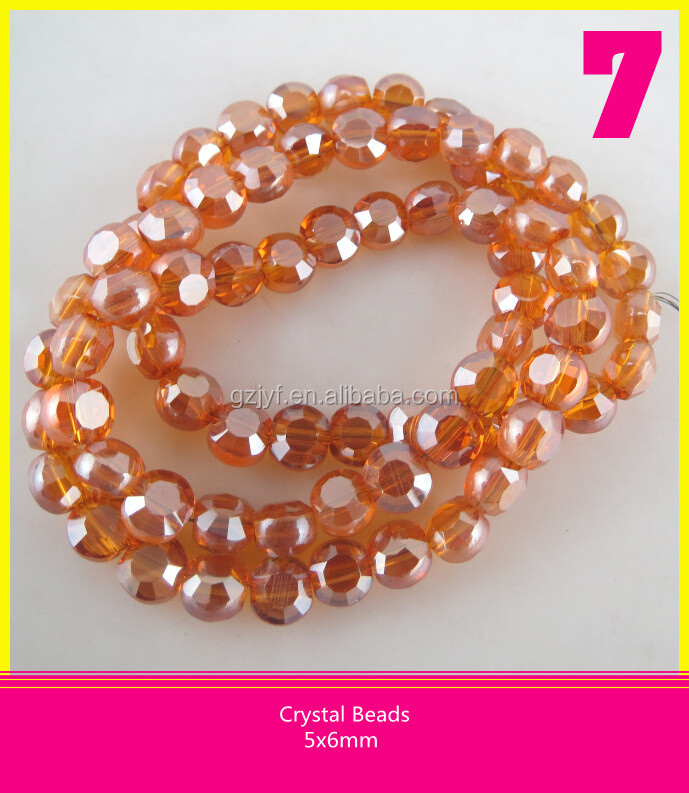 5*6mm Orange Faceted Crystal Beads Wholesale Glass Loose Beads