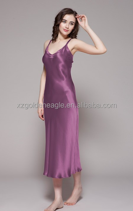 100% Pure Silk Long Nightgown Romantic In Violet