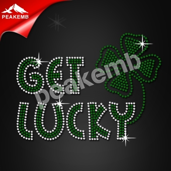 Custom Saint Patrick Shamrock Rhinestone Tansfers Design For T-shirt