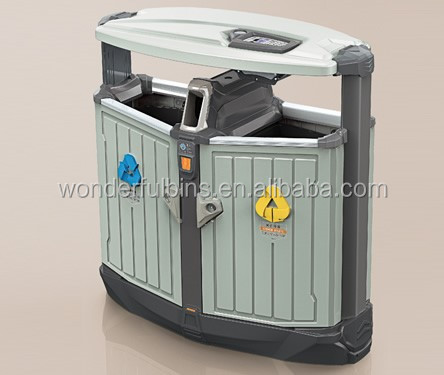 Decorative two compartments metal dustbin/garbage container(DS-02)