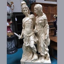 Antique Roman Hero Sculpture Large Marble Statue of Alexander the Great with Lady