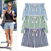 Pantalon Corto Mujer 2015 Women High Street Summer Pockets Cute Drawstring Waist Vertical Stripe Pockets Shorts