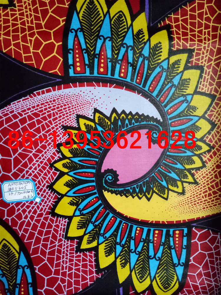 African market latest design pure cotton imitation wax printed fabrics C24*24 72*60