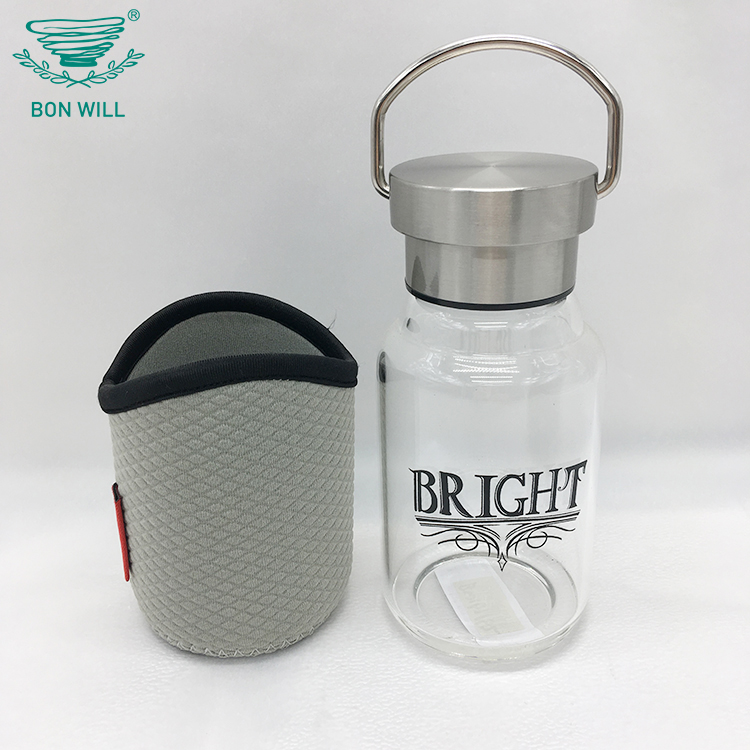 Custom outdoor sports heat portable unbreakable insulated glass drinking water bottle