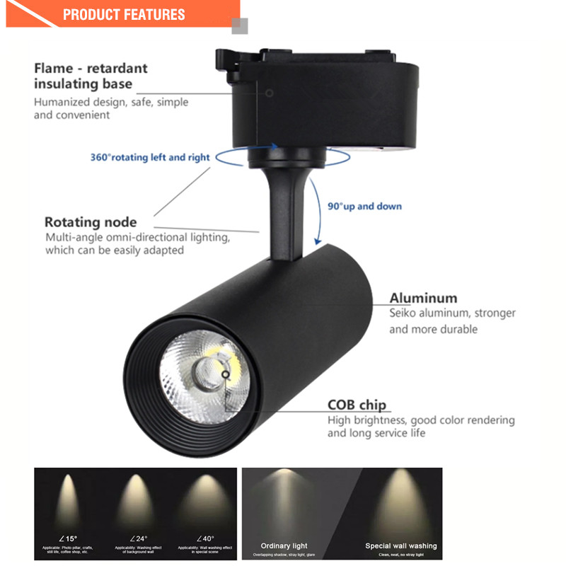 Commercial Lighting Adjustable Beam Angle Led Track Light