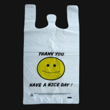 Smile Face printed plastic t shirt bag Thank You t-shirt bag for shop