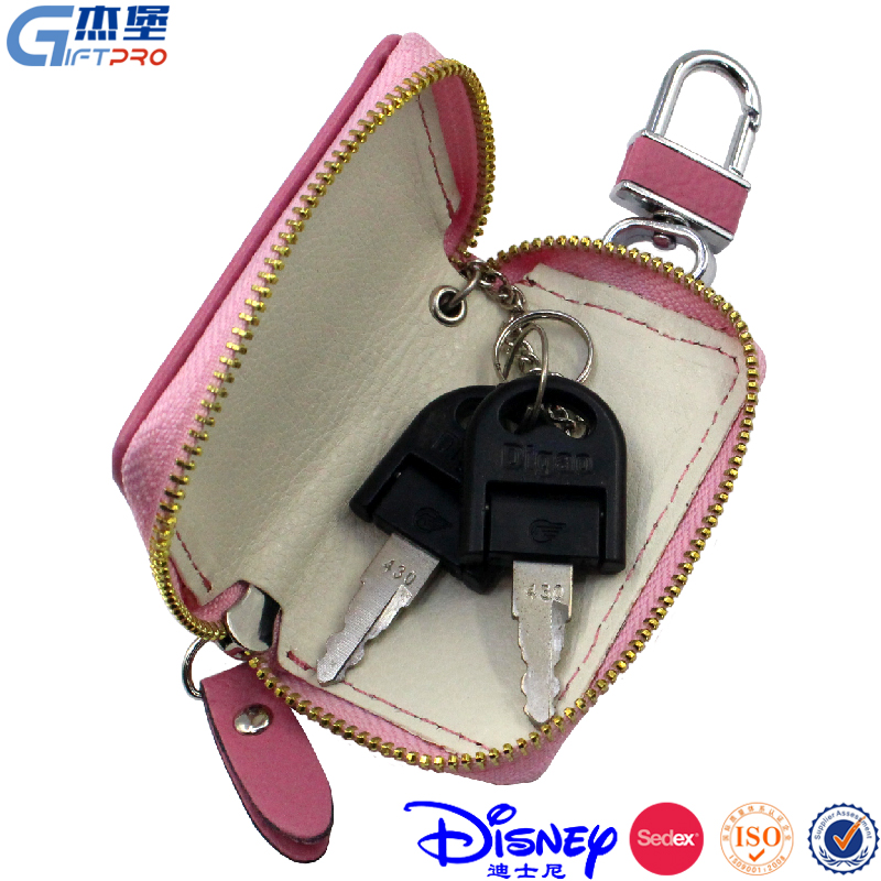 Soft mini leather car key pouch factory sale 4 color keychain wallet