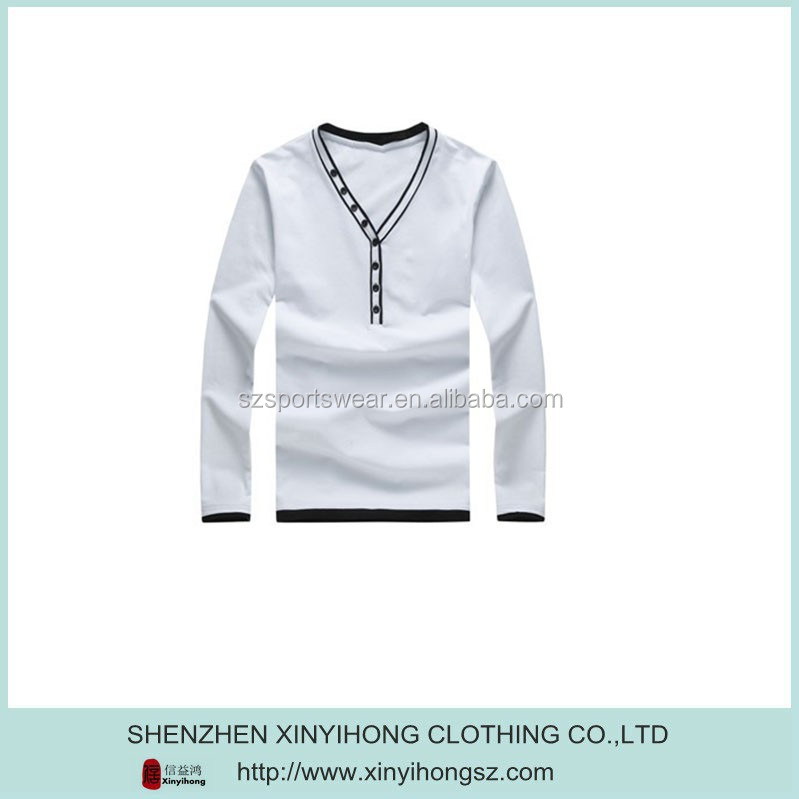 Boys long sleeve V-neck fashion style cotton T-shirt