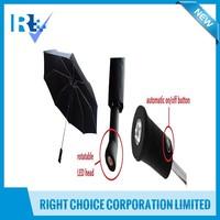 Rain gears 190T pongee Auto Open and Close handle led light umbrella