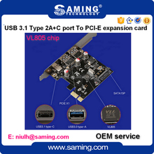 USB3.1 Type 2A+C port PCI-e Riser card expansion card combo card