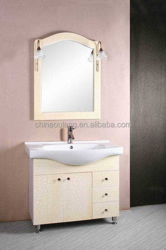 Crack Paint, Crack Lacquer MDF Bathroom Vanity Cabinet with mirror and various colors
