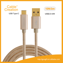 10ft 3m Braided USB3.1 Type C Male to Standard USB2.0 A Male Connection Cable