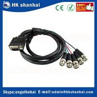 new 2017 CCTV Systerm hd television vga 15pin male d-sub to bnc cable 5 bnc connector cable