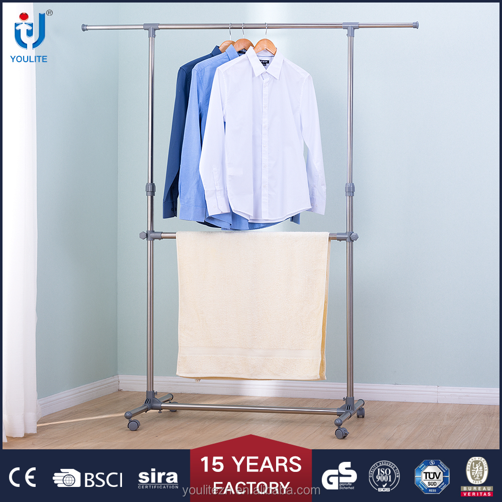 single pole extendable clothes hanging stand