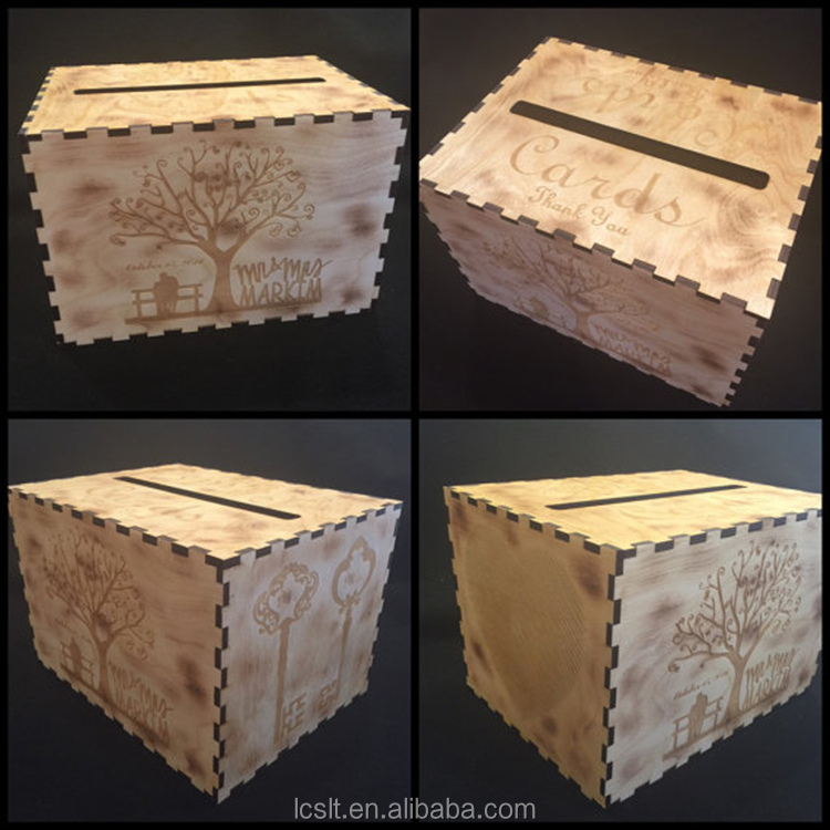 DIY laser engraving wooden invitation card box for wedding