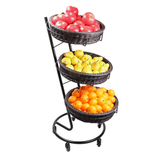 three layer <strong>fruits</strong> and vegetables display rack with pp rattan baskets