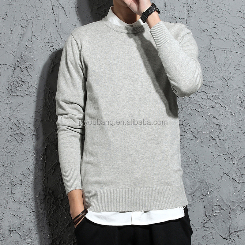 2017 hot sale casual style crew neck long sleeve plain color man sweater